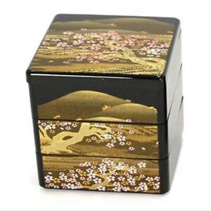 """Japanese Lacquer Stack Lunch Bento Box 3-Tier 3.5""""L Yoshino Sansui Made in Japan"""
