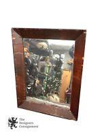 Antique Shaving Mirror Rustic Primitive Original Glass Tortoise Shell Patina