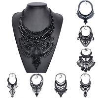 New Design Black Tassel Necklace Big Long Bib Statement Chunky Choker Collar HOT