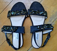 CLARKS Ladies Black Leather Strap Sandals with Jewels and Fur Imitation Size 6.5