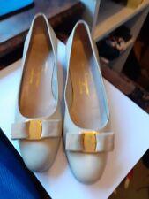 Salvatore Ferragamo Vara 8 (EUR38) Cream Chrome(?) Leather