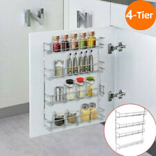 4 Tier Spice Herb Rack Holder Kitchen Jar Wall Door Storage Display Shelving UK