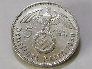 (4)German 5 Reichsmark (1936 D) 0.900 silver coin Third Reich WW2