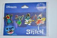 Disney Stitch 4 Pin Booster Set with Lilo & Stitch Lanyard
