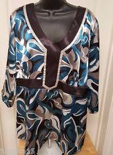 Studio 1940 Woman's Plus Black/Silver/Gray/Bluish Green Design Shirt Size 18/20W