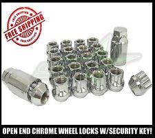 20 OPEN END WHEEL LOCKS CHROME + SECURITY KEY 1/2-20 | CHEROKEE WRANGLER CJ JK