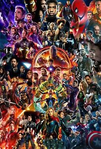 Marvel MCU Movie Collage Poster Avengers Endgame Iron Man Thor Hulk - NEW - USA