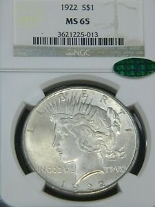 1922 Peace Silver Dollar NGC MS65 CAC Silver White Pretty Silk Luster PQ #G694