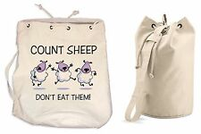 COUNT SHEEP DON'T EAT THEM DUFFLE BAG Vegetarian Vegan College Rucksack Gym