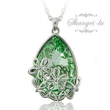 18K White GOLD GF SALLY GARDEN Flower Teardrop NECKLACE SWAROVSKI CRYSTAL TE602