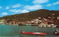 ST THOMAS VIRGIN ISLAND CHARLOTTE AMALIE~HARBOR VIEW~BOATS POSTCARD c1964