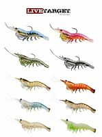 "Live Target Rigged Shrimp 75 3"" 4 Pack Select Colors Bass Fishing Lure Bait"