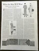 1929 Magazine Article What the Man Will Wear William Archer GREAT Illustrations!