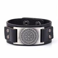 Vegvisir Leather Bracelets Cuff Bangle for Men Viking Campass Runes Jewelry
