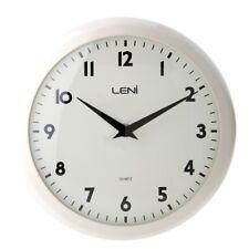 Leni Metal School Wall Clock 24cm Ivory