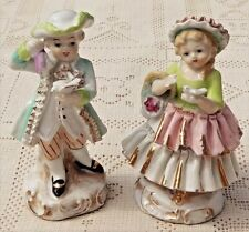 VINTAGE 1950's CHASE JAPAN HAND PAINTED PORCELAIN COLONIAL BOY & GIRL FIGURINES