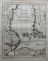 Kupferstichkarte Stück von dem Bothnischen Meer-Busen 1758 Landkarte sf