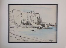 Jeanne BESNARD-FORTIN 1892-1978.Collioure.Aquarelle.25x33.Monogrammé et situé.