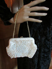 Vintage Walborg Ivory Satin and Beaded Evening Handbag Purse with Chain Strap