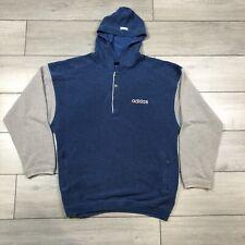 Adidas Hoodie Vintage 90s Raglan Sweater Blue Grey XL (Medium On Label)