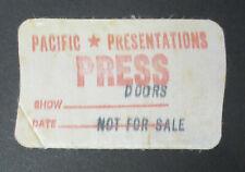 The Doors Hollywood Palladium 1971 Press Pass (used) Dr. John Curved Air