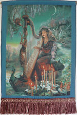 "MAGICAL FANTASY 22"" FRINGED NEEDLEPOINT WOVEN PAINTING TAPESTRY:MAGIC HARP ="