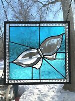 BEVELED BUTTERFLY STAINED GLASS WINDOW - 10 3/4 X 11 1/2