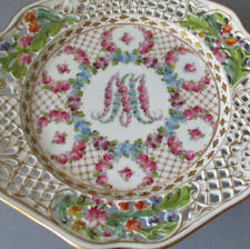 Antique DRESDEN HP Reticulated Porcelain COMPOTE ~ Marie ANTOINETTE * C Thieme