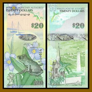 Bermuda 20 Dollars, 2009 P-60b First Prefix A/1 Whistling Frog Church Unc