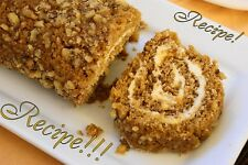 "☆Pumpkin Cake Roll with Cream Cheese Filling ""RECIPE""☆Moist & Flavorful!!☆"