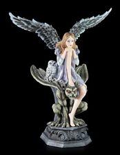 Teelichthalter - Dark Angel Figur mit Eule auf Gargoyle - Fantasy Kerzenhalter