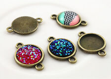 Antique Bronze Plated 12mm Cabochon Connector Bases | Patterned Back | 20pcs