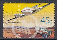 Australien Briefmarke gestempelt 45c Outback Services Flugzeug Auto / 20