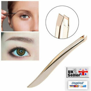 Professional Gold Feather Eyebrow Tweezers Hair Slanted Tip Stainless Steel UK