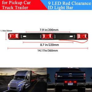 Red 9 LED Clearance ID Light Bar Side Marker Rear Corner Lamp for Truck Trailer