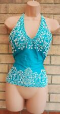 RAYON SILK BLUE TURQUOISE WHITE BEADED CORSET HALTERNECK PARTY BLOUSE TOP 8 S