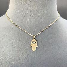 Bohemian Style Gold Finish Rhinestone Hamsa Hand Pendant Dainty Necklace