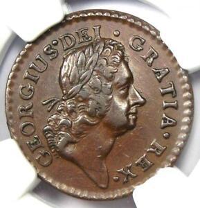 1723 Woods Hibernia Farthing Colonial Coin (1/4P, Dei Gratia) - NGC AU55