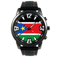 South Sudan Country Flag Men's Style Rubber Silicone Band Quartz Watch S207F