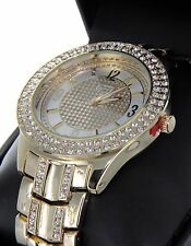 Geneva Platinum  Men Hip Hop Gold Finish Iced Out Lab Diamond Rapper Watch New