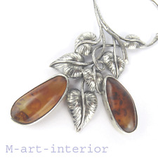 Jugendstil Bernstein Silber Collier Amber Silver Necklace Art Nouveau ca 1900