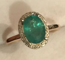 1.55CT NATURAL  COLOMBIAN EMERALD AND REAL DIAMONDS RING IN 10K YELLOW  GOLD