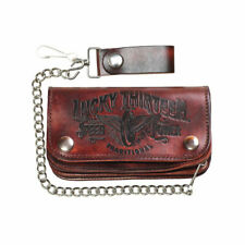 Lucky 13 Traditional Embossed Chain Leather Wallet Brown