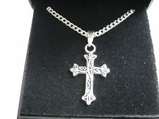 """20 x  New Silver Plated 18"""" Necklaces & Scroll Cross Pendant with Gift Boxes"""