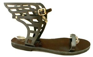 Ancient Greek Womens WINGED Roman Leather Handmade Sandals Shoes Gladiator Slide