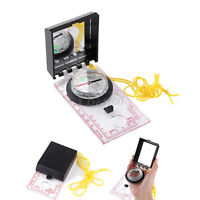 Outdoor Survival Camping Hiking Emergency Compass W/ Mapping Ruler& Mirror&Rope