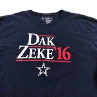 Dallas Cowboys Dak Zeke 2016 NFL Men's Short Sleeve T Shirt XL Blue Red Crewneck