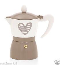 BRANDANI CAFFETTIERA MOKA 1 TAZZA BATTICUORE ALLUMINIO TORTORA PANNA CUORE 55741