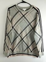 Charter Club Ice Gray Pink Black Top Women's Sweater Pullover $59.50