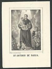 Lamina antique de San Antonio de Padua  santino holy card grabado estampa